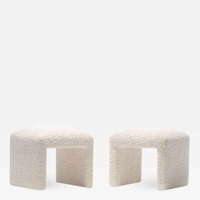 Directional PAIR OF WATERFALL BENCHES IN IVORY BOUCL BY DIRECTIONAL CIRCA 1970S
