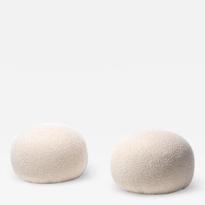 Directional Pair of Directional Poufs Ottomans in Ivory white Boucl
