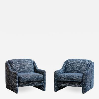 Directional Pair of Directional Sculptural Lounge Chairs in Blue White Knoll Fabric