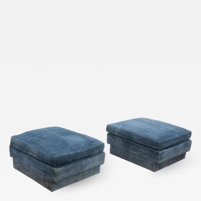 Directional Pair of Large Blue Velvet Ottomans by Directional