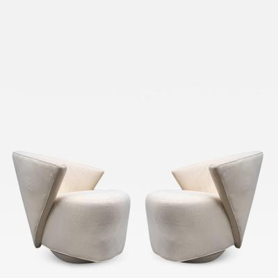 Directional Pair of Sculptural Swivel Lounge Chairs by Directional