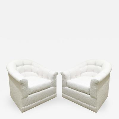 Directional Pair of Swiveling Tufted Barrel Back Lounge Chairs by Directional 1960s