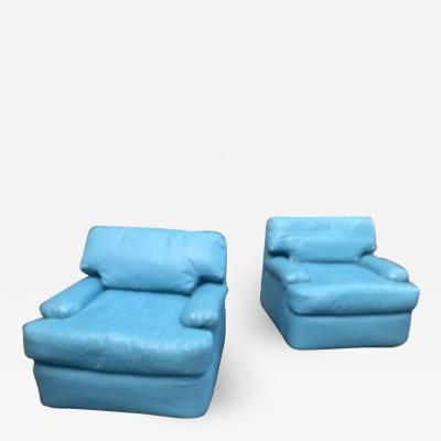 Directional SKY BLUE LEATHER SWIVEL CHAIRS BY DIRECTIONAL