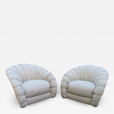 Directional Stunning Pair of Directional Crescent Tufted Swivel Lounge Chair Midcentury
