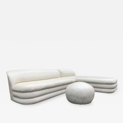 Directional Vladimir Kagan Style Directional Sectional Sofa Chaise Pouf Having Piled Base