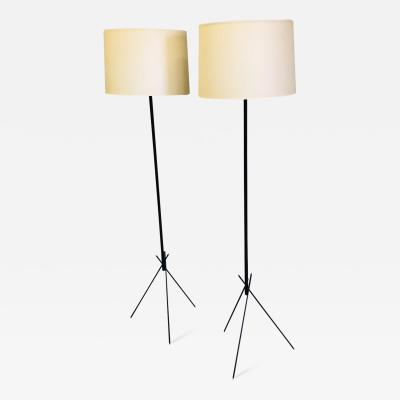 Disderot Pair of French Mid Century Modern Wrought Iron Floor Lamps Disderot Attributed