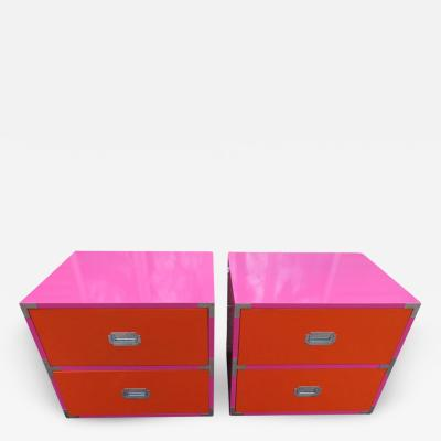 Dixie Fun Pop Colored Pair of Campaign Nightstands Mid Century Modern Campaigner