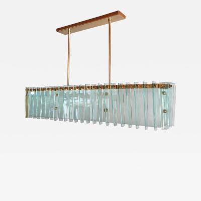 Dominici Large rectangular Mid Century Modern glass brass chandelier by Dominici Brazil