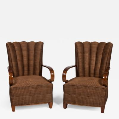 Dominique Dominique Pair of High Backed Armchairs