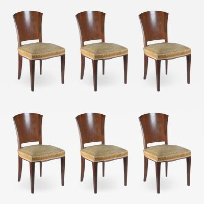 Dominique Dominique Set of Six Rosewood and Walnut Dining Chairs
