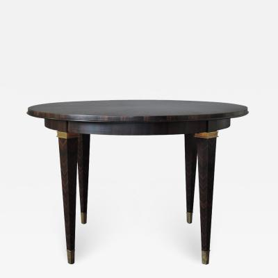 Dominique FINE FRENCH ART DECO EXTENDABLE MACASSAR EBONY ROUND TABLE BY DOMINIQUE