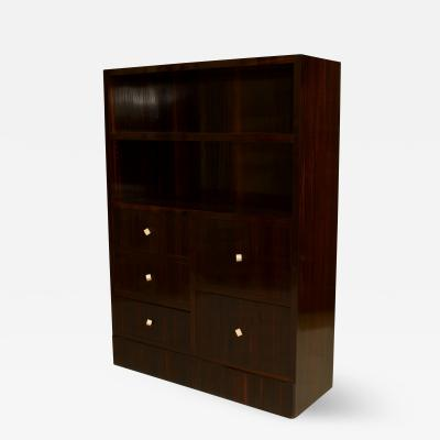 Dominique French Art Deco Calamander Wood Bookcase Cabinet