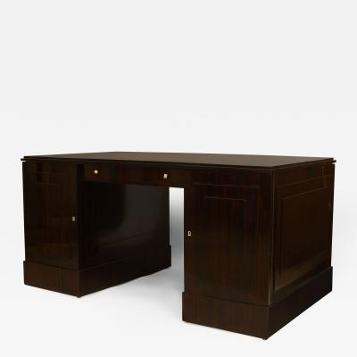 Dominique French Art Deco Calamander Wood Double Pedestal Base Desk