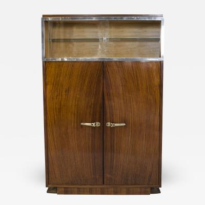 Dominique French Art Deco Rosewood Vitrine Bar Cabinet