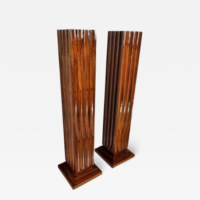 Dominique Pair Fine Art Deco Palisander Pedestals Dominique