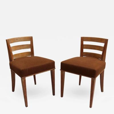Dominique Pair of French Art Deco Lime Oak Side Chairs by Dominique