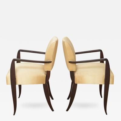 Dominique Pair of French Late Art Deco Ebony De Macassar Armchairs Dominique Et Cie
