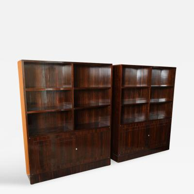 Dominique Pair of French Late Art Deco Ebony de Macassar Bookcase Cabinets by Dominique