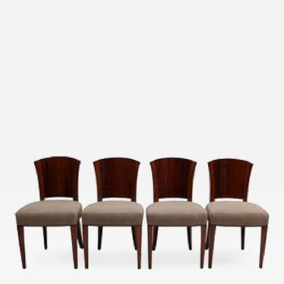 Dominique Set of Four Fine French Art Deco Walnut Chairs by Dominique