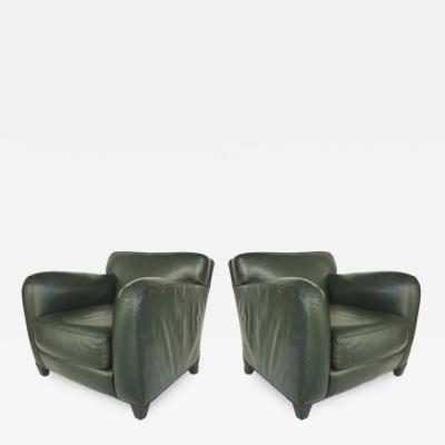 Donghia Donghia Leather Club Chairs from the Main Street Collection in Forest Green