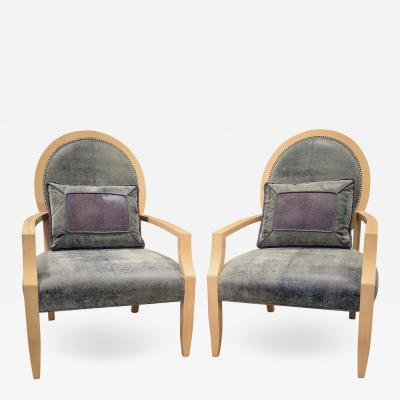 Donghia Donghia Pair of Elegant Lounge Chairs in Avodire 1980s