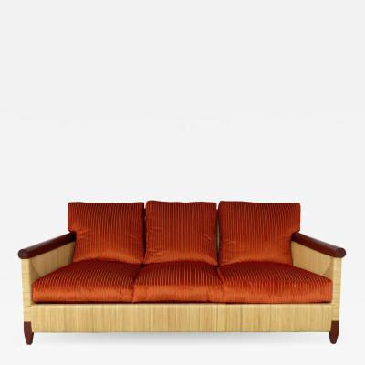 Donghia John Hutton for Donghia Wicker Reed and Mahogany Merbau Collection Sofa