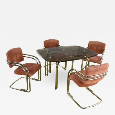 Douglas Furniture Modern double tube brass plate cantilever chairs smoked glass top table