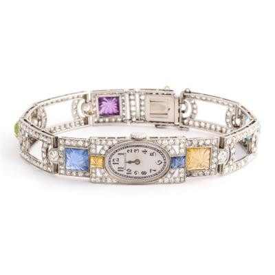 Dreicer Co Antique Diamond and Multi gem Watch