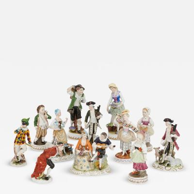 Dresden Porcelain Set of twelve Dresden porcelain figures and groups