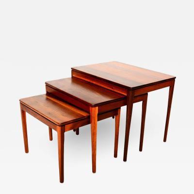 Drexel Drexel Heritage Furniture Mid Century Modern Walnut Nesting Tables by Kipp Stewart for Drexel 1950s