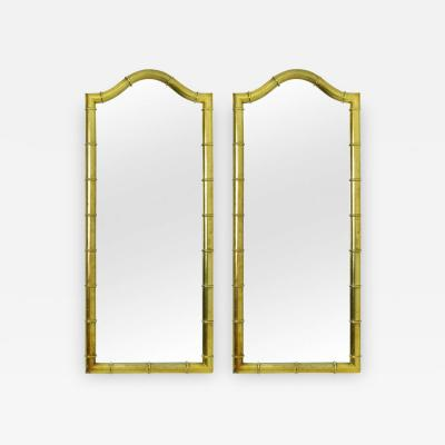 Drexel Drexel Heritage Furniture Pair of Drexel Mirrors in Faux Bamboo with Gold Leaf Finish