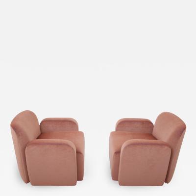 Drexel Drexel Heritage Furniture Post Modern Barrel Back Lounge Chairs