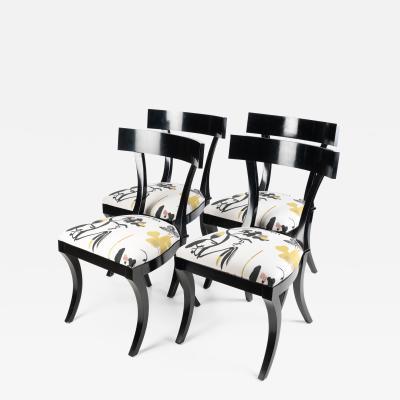 Drexel Drexel Heritage Furniture Set of Four Hollywood Regency Klismos Side Chairs