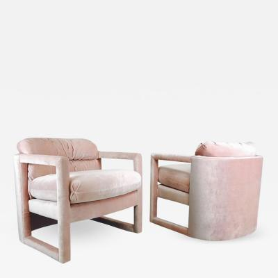 Drexel Pair of Drexel Parson Style Lounge Chairs in Pink Velvet