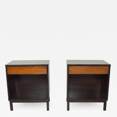 Dunbar DUNBAR by Edward Wormley Two Tone Nightstands Espresso Honey Blonde 1960s