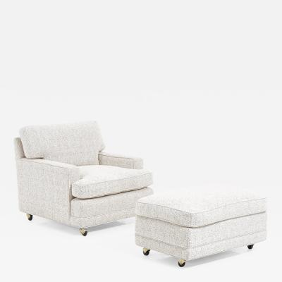 Dunbar Dunbar Lounge Chair and Ottoman Upholstered in White Boucle Edward Wormley