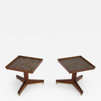 Dunbar Edward Wormley Janus Occasional Tables with Natzler Tiles for Dunbar in Walnut