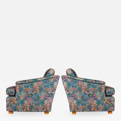 Dunbar Edward Wormley for Dunbar Lounge Chairs in Jack Lenor Larsen Fabric circa 1960