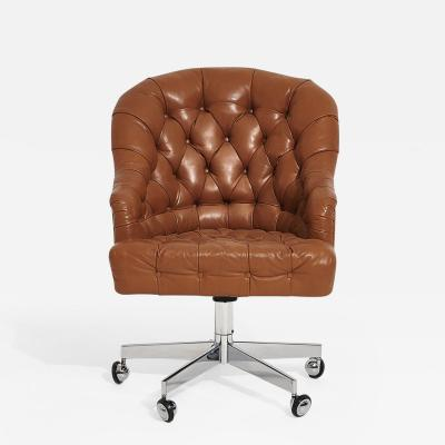 Dunbar Edward Wormley for Dunbar Tufted Brown Leather Desk Chair