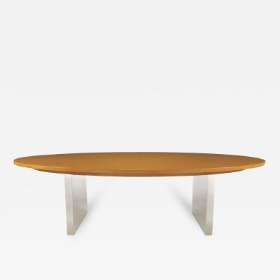 Dunbar Furniture Dunbar Oval Ash and Polished Steel Dining Table