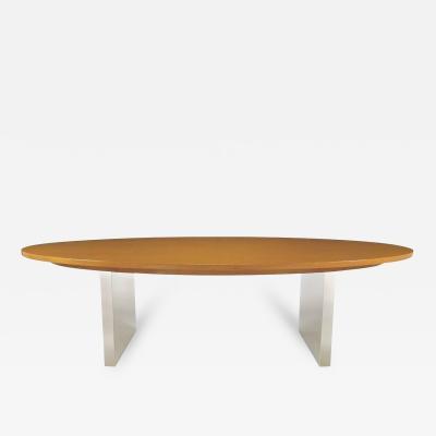 Dunbar Furniture Dunbar Oval Ash and Polished Steel Dining Table