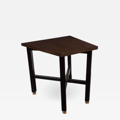 Dunbar Mid Century Modern Trapezoidal Walnut Side Table with Brass Sabots by Dunbar