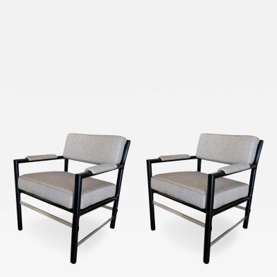Dunbar Pair of Black Dunbar Armchairs with Nickel Stretchers