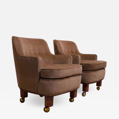 Dunbar Pair of Lounge Chairs in Mahogany and Velvet by Edward Wormley for Dunbar