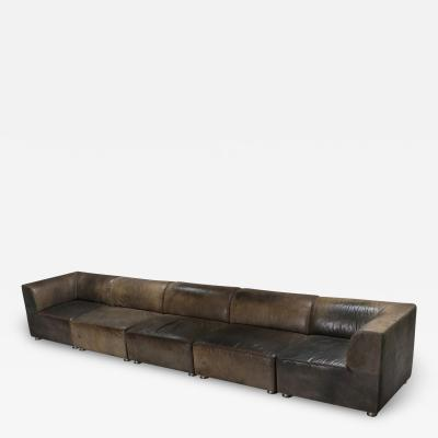 Durlet Sectional Corner Sofa in Patinated Leather for Durlet 1980s