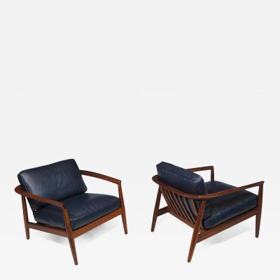 Dux Folke Ohlsson for Dux Walnut and Leather Lounge Chairs