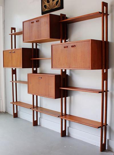 Dyrlund Danish Teak Wall Unit with Desk 1970s