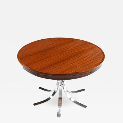 Dyrlund Dyrlund Danish Rosewood Chrome Tulip Base Flip Flap Table 1970s