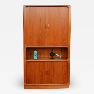 Dyrlund Fab Tall Dyrlund Teak Tambour Cabinet w One Open Display Area