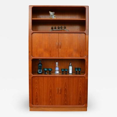 Dyrlund Fab Tall Dyrlund Teak Tambour Cabinet w Two Open Display Areas